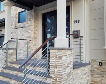 Modern Square Stairs Balcony Hand Rail Staircase Railing Kit - Aluminium
