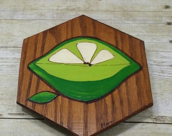 Retro Lime Wood Wall Plaque, 1970s, kitchen art, vintage wall art