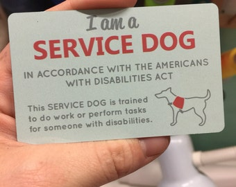 Service dog ADA information card, waterproof, Semi-Gloss thin Aluminum business card, 2 Sided