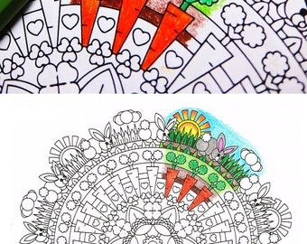 Mandala Coloring Page - Bunny Clearing - printable Easter coloring page for adults and big kids - rainy day activity - mindfulness coloring