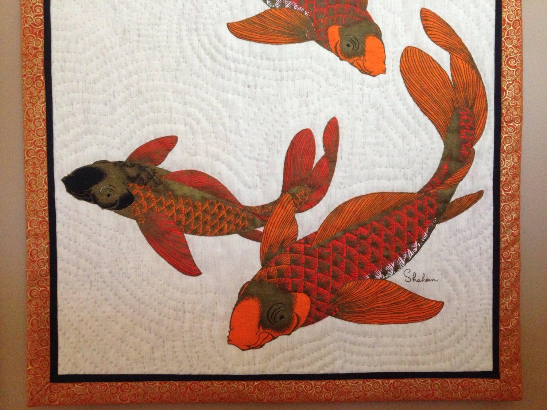 WALL HANGING Alfred Shaheen fabric Koi Fish handprinted