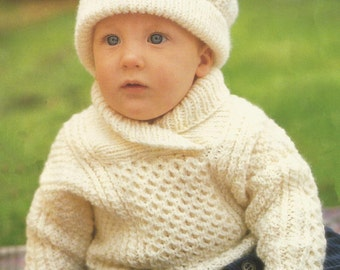 46c3908ff Baby Aran Jumper Sweater and Hat to fit chest 18 -24ins (46-61cm) - PDF  knitting pattern