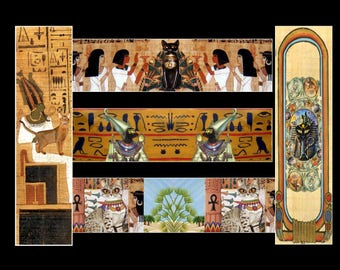 set of 5 bookmarks with cat: feline trip to ancient Egypt