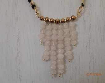 Rose Quartz Dangle Bead Necklace