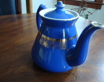 Hall China Cobalt Blue with Gold Trim Teapot and Lid!