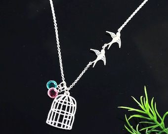 Free Bird  Necklace, BirdCage necklace, Personalized, Lost Loved one Gift, Lost Parents, Graduation Gift, Flying Birds Necklace