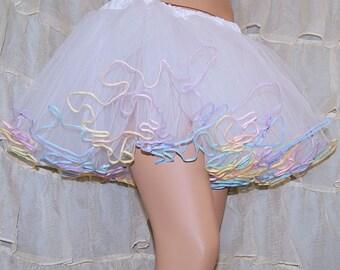 White Pastel Rainbow Piped Costume TuTu Crinoline Skirt MTCoffinz --- Adult All Sizes
