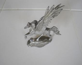 """Vintage 3 3/4"""" Tall Metal Unicorn & Crystal Ball Figure"""