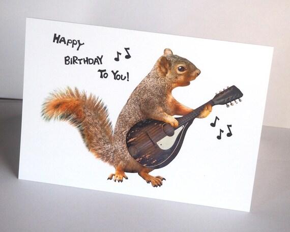 Squirrel Playing Mandolin Birthday Card