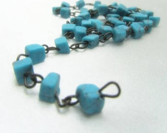 18 inches Simulated Turquoise Nuggets on Antique Brass Chain
