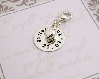 CHARMS with ENGRAVED WEDDING, thank you, 925 Silver