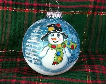 Snowman Ornament, Handpainted Snowman, Hobo Snowman, Snowman with Patches, Blue Glass Ornament,  Snowy Day, Colorful Snowman