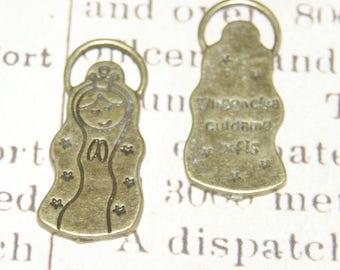 """2 charms Virgin of Guadalupe or """"Lupita"""" bronze 27x14mm"""