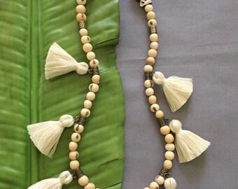 Cream Tassel Necklace, Acai Seed Necklace, Bohemian Necklace, Seed Jewelry, Boho Jewelry