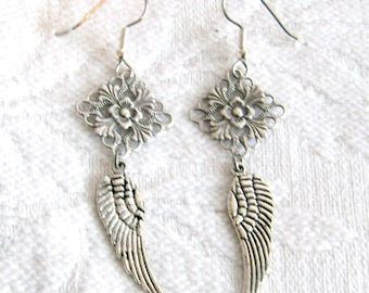 Long Antiqued Silver Filigree and Wing Pierced or Clip On Earrings