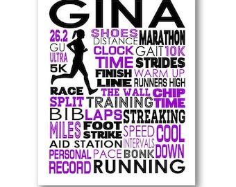 Running Typography Poster, Runner's Room Art, Gift for Marathon Runner, 5K or 10K Running Team or Coach Art, Runner Gift, Runner Wall Art