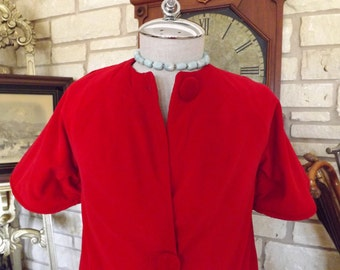 Vintage Bloomingdale's Red Velvet Coat Sz 6-8_Jackie O Red Velvet Coat 1960's