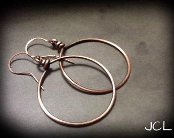 """Hoop earrings. Copper wire earrings. Wire wrapped. Wire wrapped copper hoop (1.25)"""") earrings"""