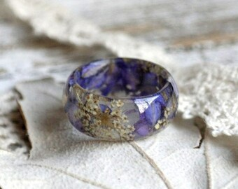 Real Flower Resin Ring, Nature Inspired Terrarium Jewelry, Queen Anne's Lace Flower Resin Ring, Delfinium Blue Petals, Engagement Men Ring