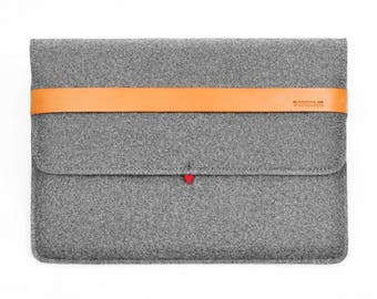 13'' Macbook Pro Case Macook Air Sleeve Tablet Sleeve Wool Felt Case with Italian Thick Leather Strap Laptop Sleeve TopHome