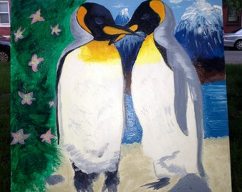 Penguin Love Painting