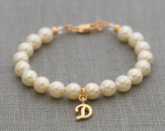 Gold Flower Girl Bracelet, Custom Flower Girl Gift, Flower Girl Jewelry, Flower Girl Initial Bracelet