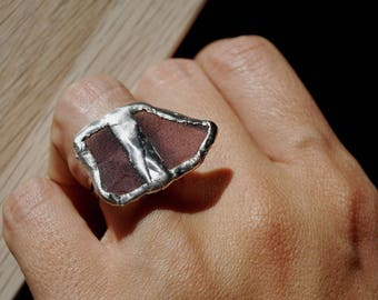 Boho glass purple ring Sea glass ring Bold rings Magical ring Seaglass ring Beach glass ring Silver beach jewelry Sea glass jewelry handmade
