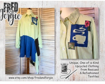 Upcycled Tunic Top Coffee Lovers 2X to 3X Reverse Applique Asymmetrical, Refashioned, Altered, Redesigned, Eco-Friendly, Sustainable,