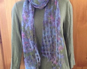 Floral scarf, spring scarf, Monet scarf, lightweight scarf, fringed scarf,