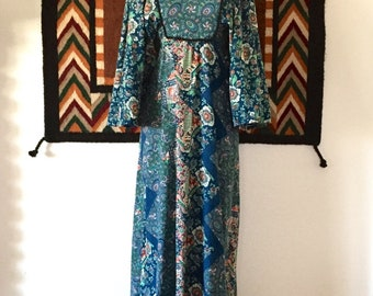 1970s Vintage Blue Multi-Color Paisley Print Angel Sleeves Empire Waist Maxi Dress