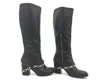 90s Madden Boho Leather Boots with Chains / Mid Calf Vintage Steve Madden Black Leather Biker Grunge Shoes 7.5 Chain Boots