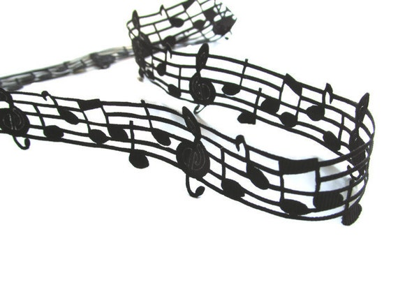 5 yds Music note ribbon  Music ribbon 2D  Musical note black grosgrain ribbon  Music theme craft ribbon Black music ribbon