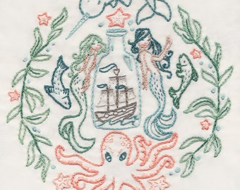 DIY Ship in a Bottle Hand Embroidery pattern PDF download mermaid narwhal octopus Nautical decor download hand embroidery patterns designs