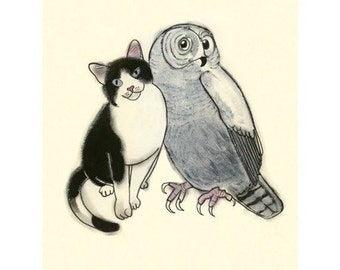 Cat Art Cat Illustration The Owl and the Pussy Cat - 4 for 3 SALE