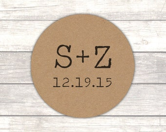 Initial stickers - Wedding initals - Envelope stickers - Rustic stickers - Wedding envelope seals - Kraft stickers (RK002)