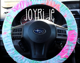 Steering Wheel Cover Lilly Pulitzer Poolside Blue Beach Walk Fabric Fully lined w/ Grip Tight Designer Car Accessories Coral For Girls Woman