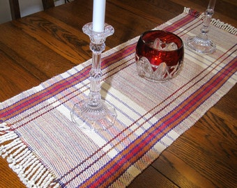 36 Inch Plaid Table Runner Hand Woven Buffet Runner Hand Woven Coffee Table Scarf Handwoven Table Topper Hand Woven Plaid Dresser Scarf