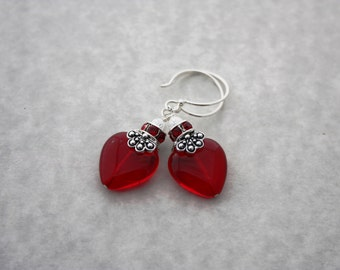 Heart Earrings Heart Jewelry Valentine Earrings Valentine Jewelry Red Earrings Sweetheart Valentines Day Gift For Her Red Heart Love 003