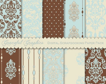 Scrapbook Paper Pack Digital Scrapbooking Background Papers DAMASK 10 8.5 x 11 Sheets DELICATE Blue Brown White 1862gg