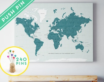 Large world map etsy personalized large world map canvas lucite color countries capitals usa and canada states gumiabroncs Gallery