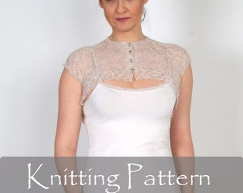KNITTING PATTERN - Cobweb Knit Shrug Lace Bolero Wedding Wrap Bridal Shrug Knit Pattern Lacy Knit Tutorial Women Cardigan PDF - P0062