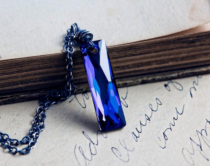 Crystal Necklace, Crystal Pendant, Swarovski Crystal, Pendant Necklace, Geometric Necklace, Blue, Sterling Silver, Swarovski Crystal