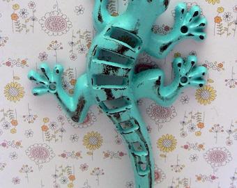Lizard Gecko Wall Hook Cast Iron Boho Southwest Shabby Elegance Aqua Turquoise Blue Garden Fence Art Coat Jewelry Leash Towel Keys Hook