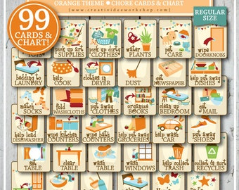 CHORE CARD BUNDLE | 99 Printable Cards & Chart | Children's Chores | Orange | Chores for Kids | Chore Cards | Chore Chart | Regular Size