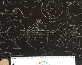 ENCYCLOPEDIA Historica Trajectories GALACTICA GEOMETRY Black Mathematical Quilt Fabric - by the Yard, Half Yard, or Fat Quarter Fq