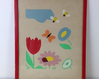 Framed Handmade Nature Scene Nursery Collage