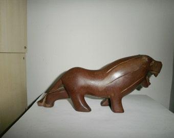 Vintage handmade wood lion
