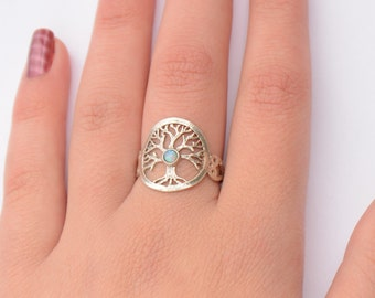 Tree of life ring, silver opal tree of life ring, tree ring, opal ring, opal tree of life ring, original tree of life ring, antique design,