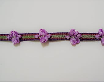Ribbon purple flowers, Ribbon green plum and violet - almond ref B3