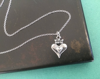 Heart with Crown Necklace Sterling Silver